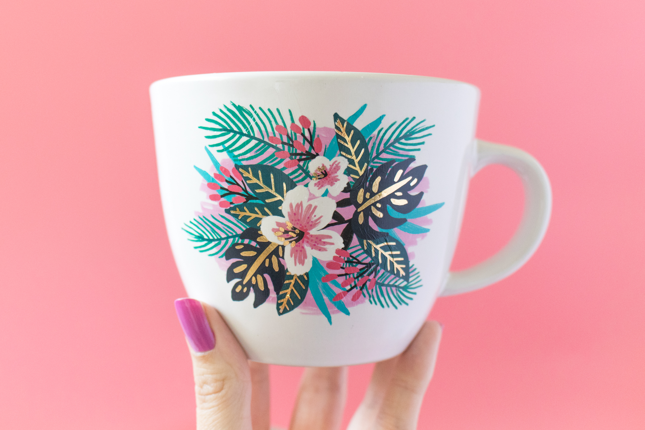 Photo of floral mug decorated using a temporary tattoo