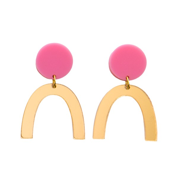 Photo of pink and mirrored gold acrylic u-shaped earrings