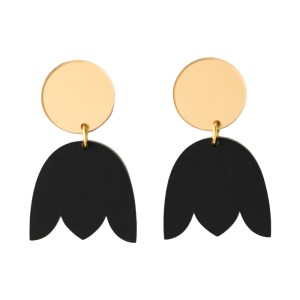 Photo of matte black and mirrored gold acrylic tulip shaped earrings