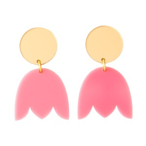 Photo of pink and mirrored gold acrylic tulip shaped earrings