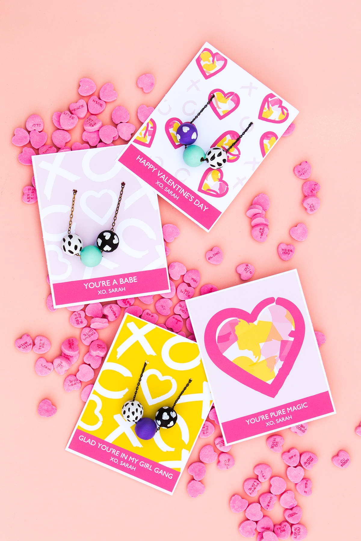 Colorful printable heart valentines day cards with handmade painted necklaces