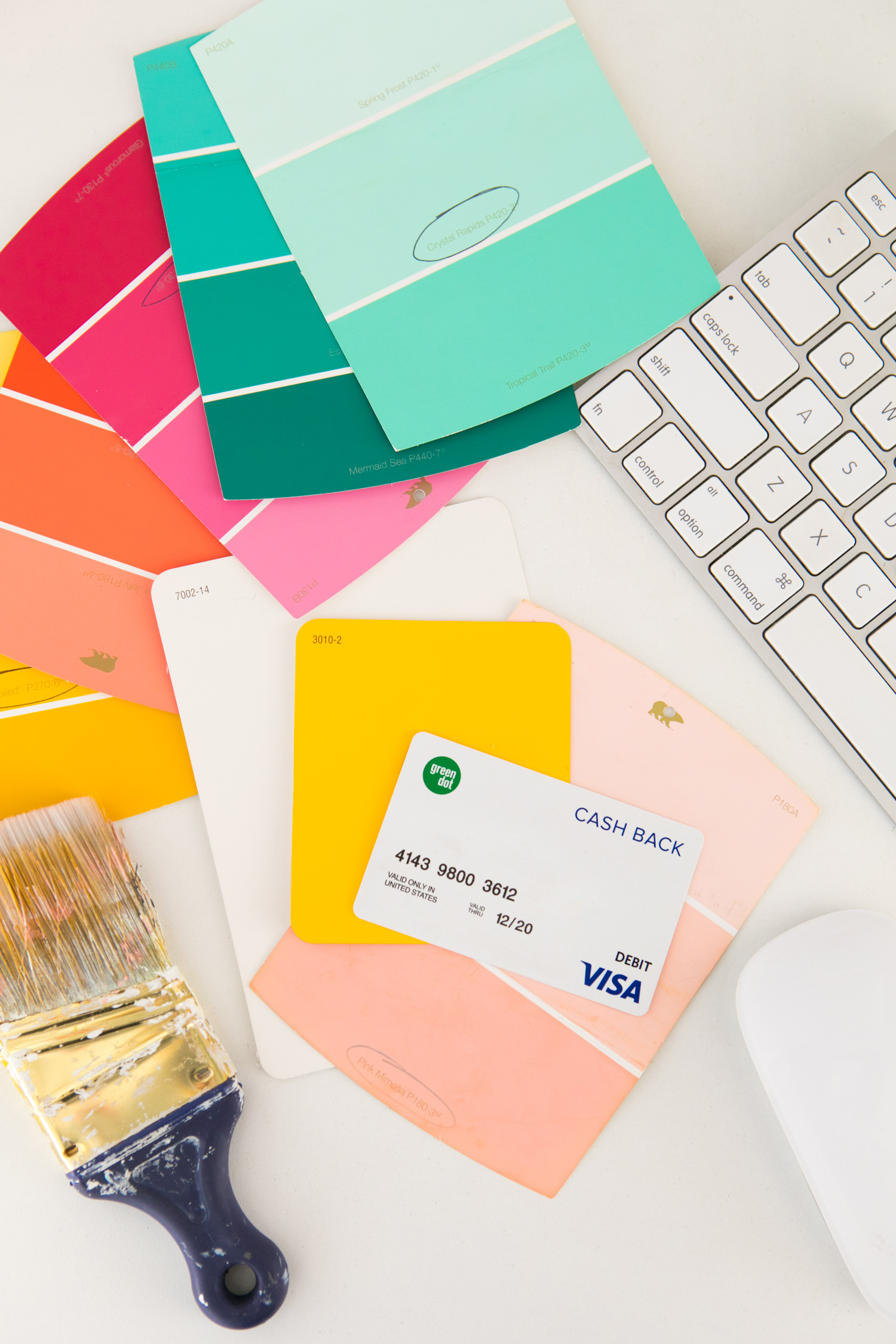 Brightly colored paint swatches