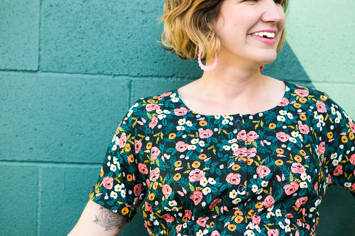 Detail shot of sleeve of floral dress