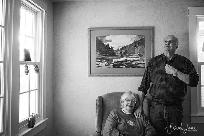 Black and White portrait of parents Sarah Jane Photography Maine