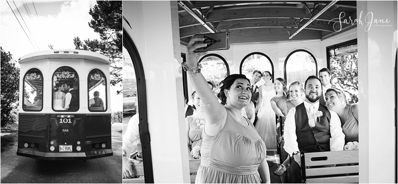 Trolley Transportation Best wedding transportation kennebunkport maine wedding photographer Sarah Jane Photography