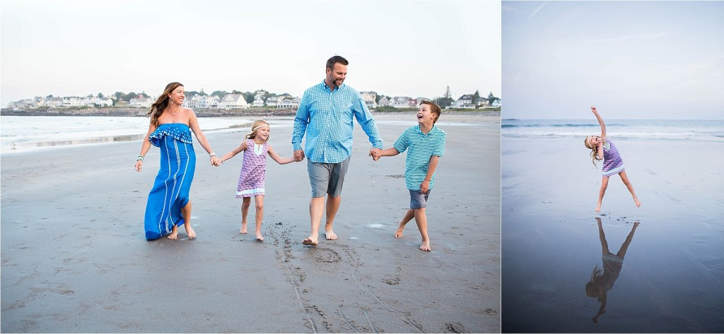Texas Family in Maine at Short Sands Beach York Maine at Sunset Family Photographer Maine