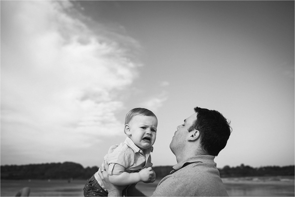 Black and White portrait Baby and Dad
