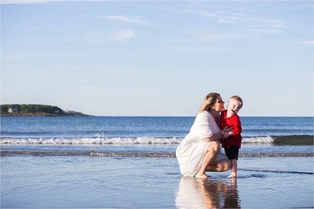 Mom and son portrait on the beach Sarah Jane Photography York Maine