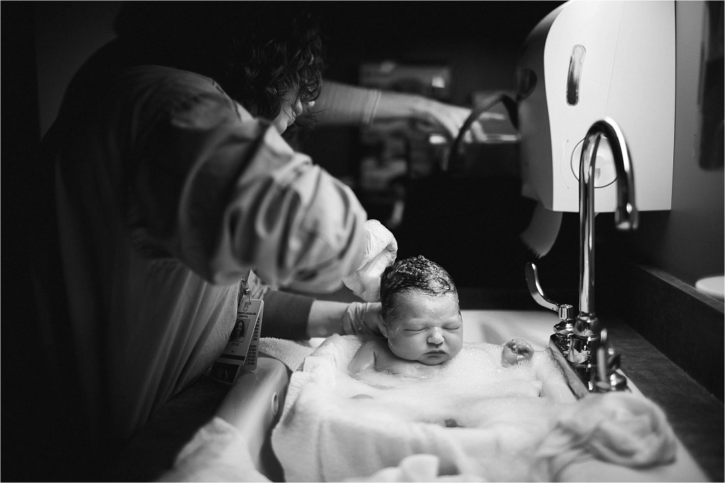 Maine birth photographer baby's first bath Sarah Jane Photography