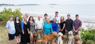 Family Portrait at Goose Rocks Beach Home with dogs
