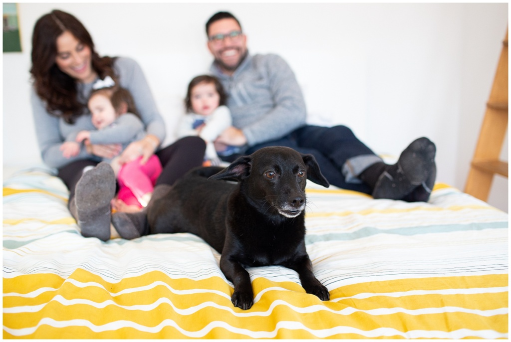 indoor winter family portrait with dog