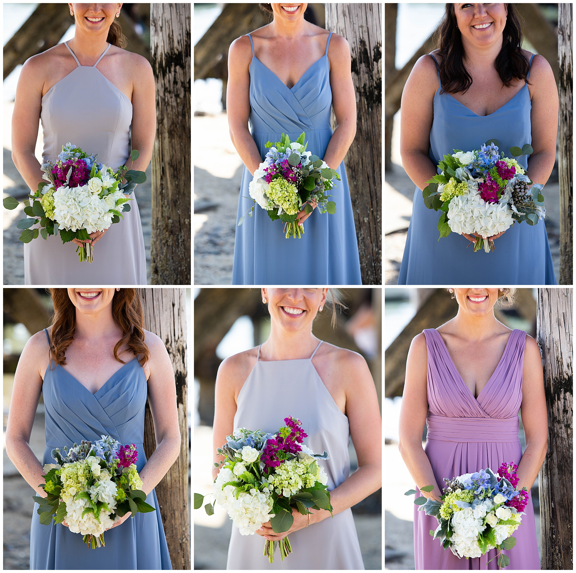 Bridesmaids different dresses blue purple grey peaks Island Portland Maine Wedding Photography