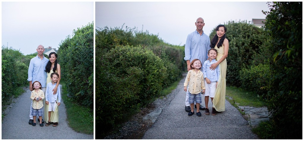 Ogunquit Maine sunset family session on Marginal Way