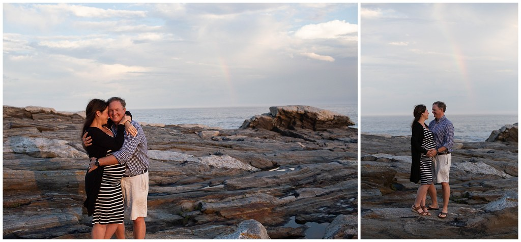 Rainbow at Maternity Session at Pemaquid Point Lighthouse