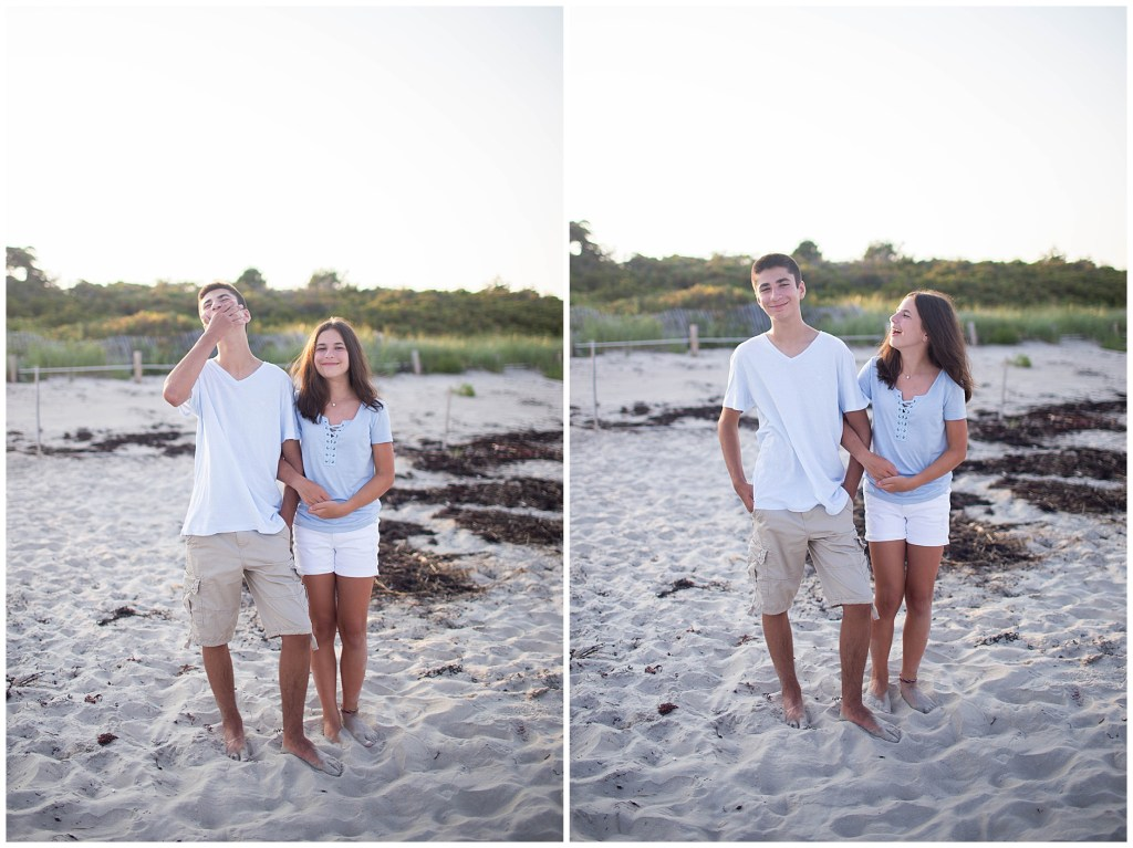 Sibling photo at sunset on the beach