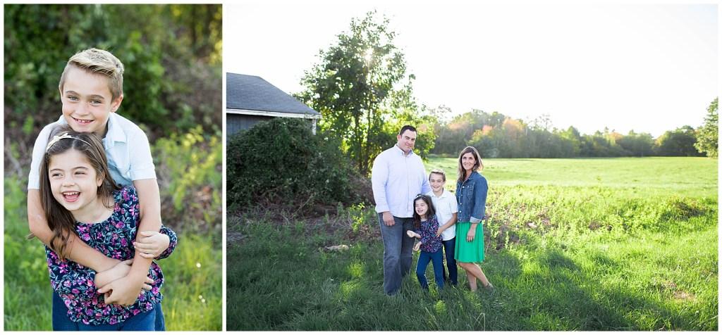 beautiful family portrait in field