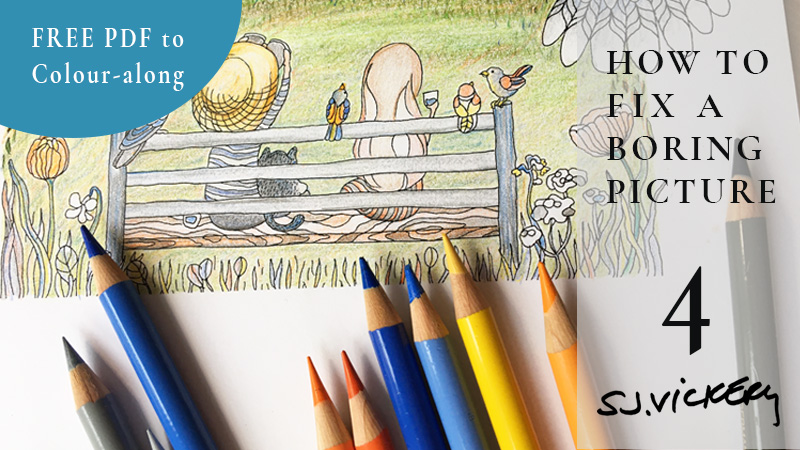 Tutorial 4: How to Fix a Boring Picture | FREE PDF Real-Time Colour along | Veronica's Garden