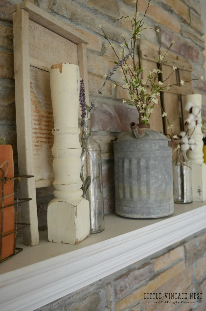 Vintage Spring Mantel with Oil Can and Spindles
