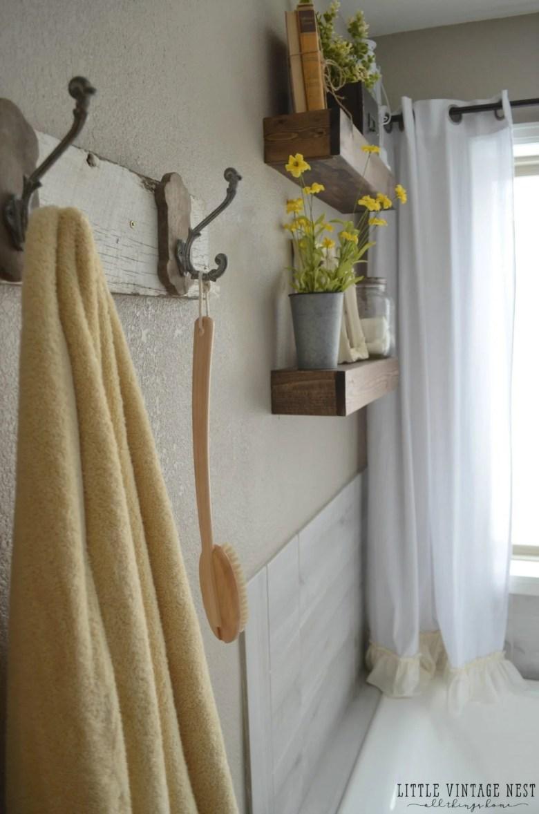 Farmhouse Master Bathroom Makeover Floating Shelves