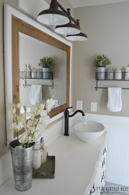 Farmhouse Bathroom Vanity and Light