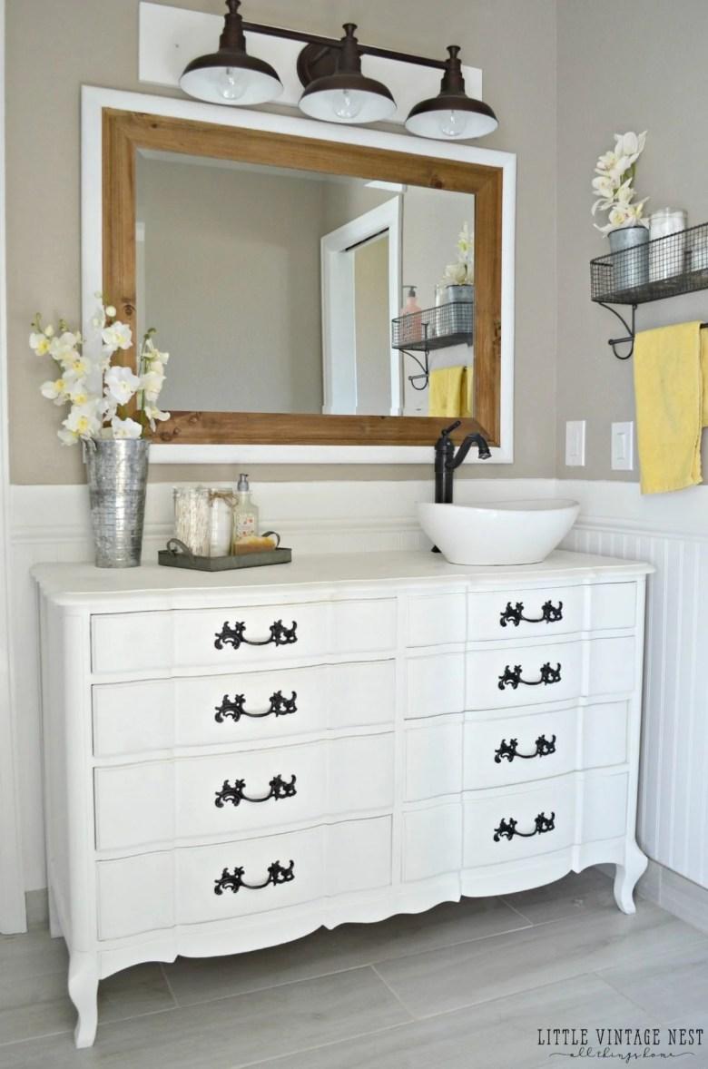 Old Dresser Turned Bathroom Vanity Tutorial, Dresser Made Into Bathroom Vanity