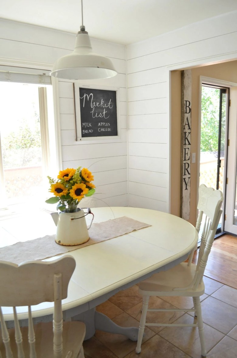 Transition to Farmhouse Decor Shiplap in Breakfast Nook