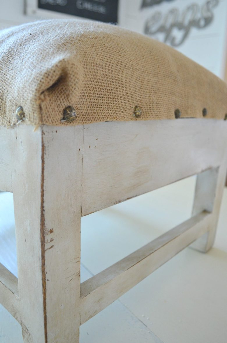 DIY Farmhouse Foot Stool Makeover