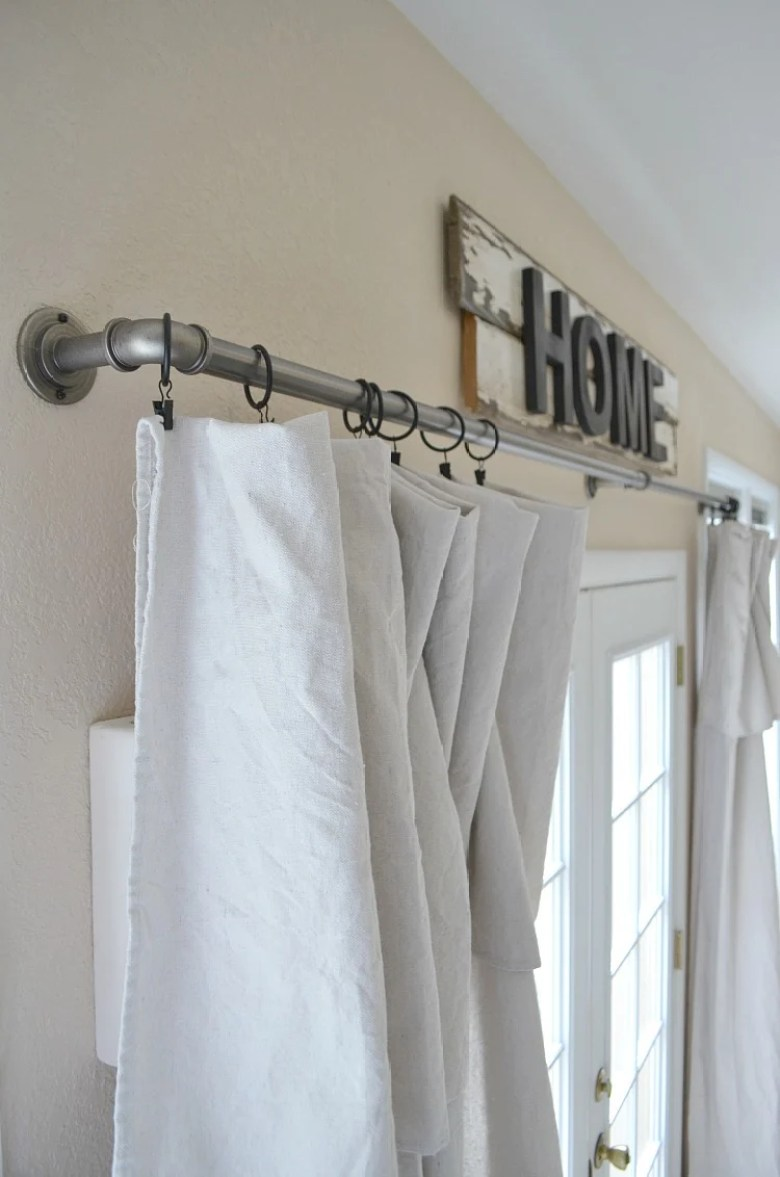 Industrial Pipe Curtain Rod and Drop Cloth Curtains
