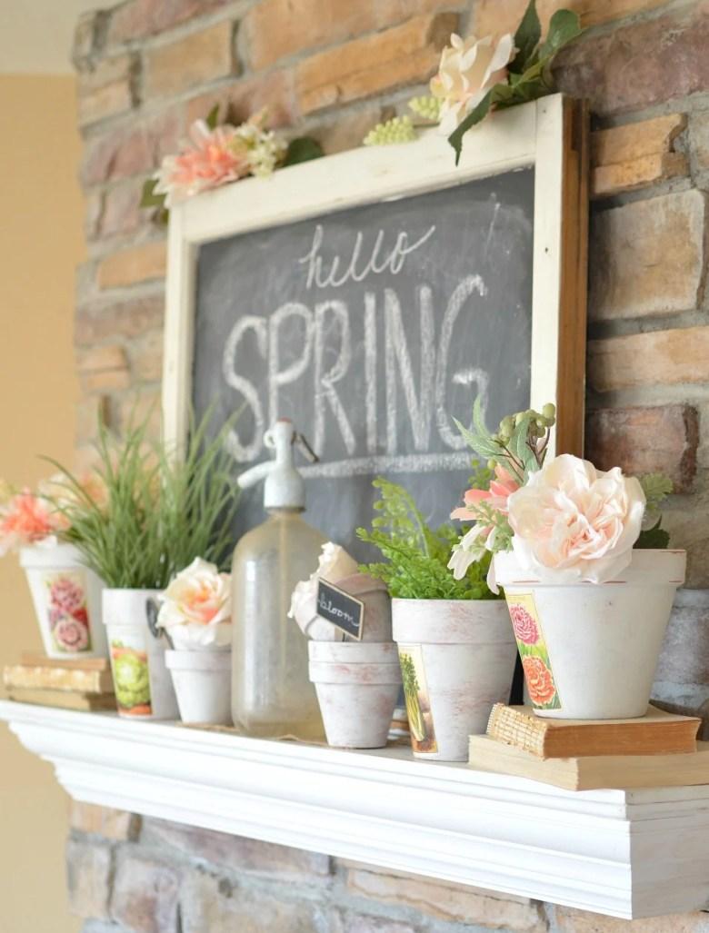 Vintage Farmhouse Spring Mantel