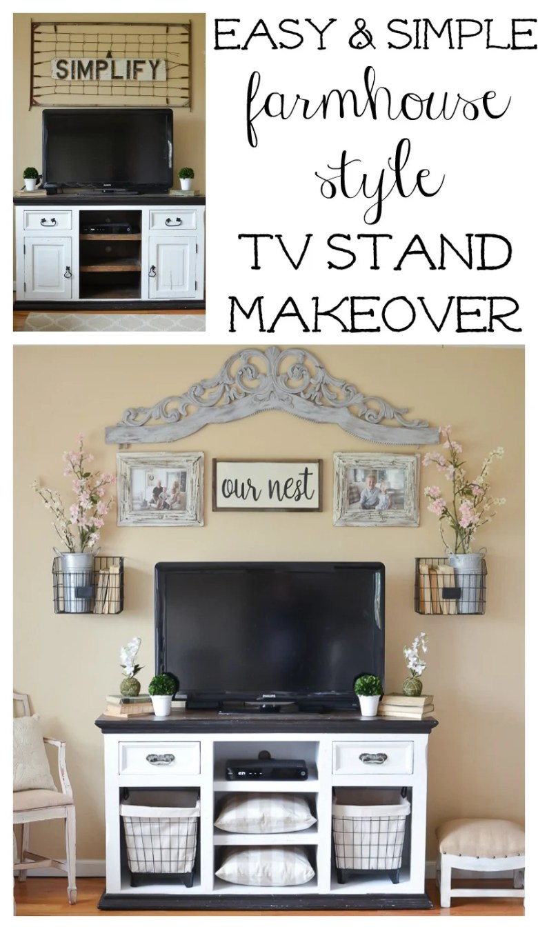 Easy and Simple Farmhouse Style TV Stand Makeover