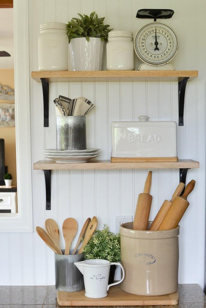 Farmhouse kitchen with open shelves