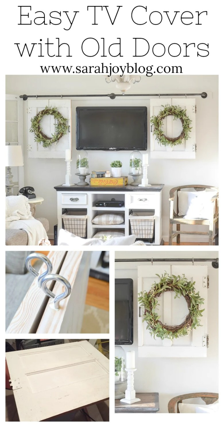 DIY Television Cover with Old Doors. Easy and simple way to cover the TV with barn doors.