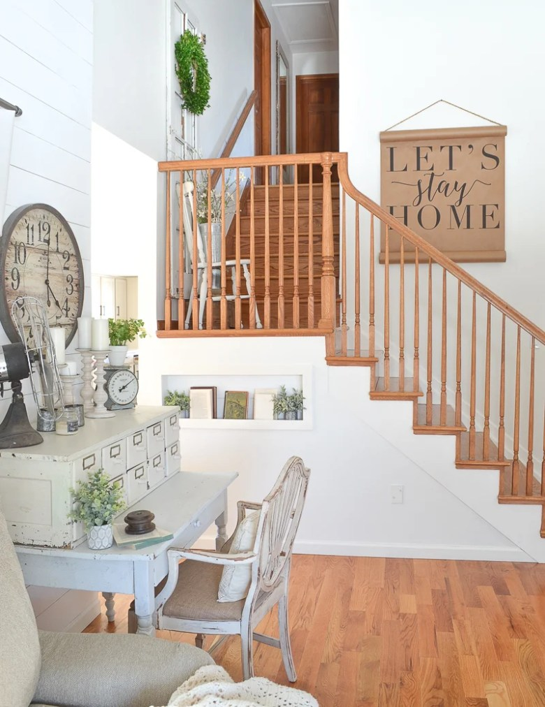 Farmhouse style staircase and white paint