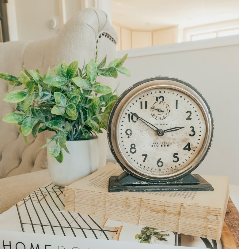 Farmhouse style decor. Vintage alarm clock.