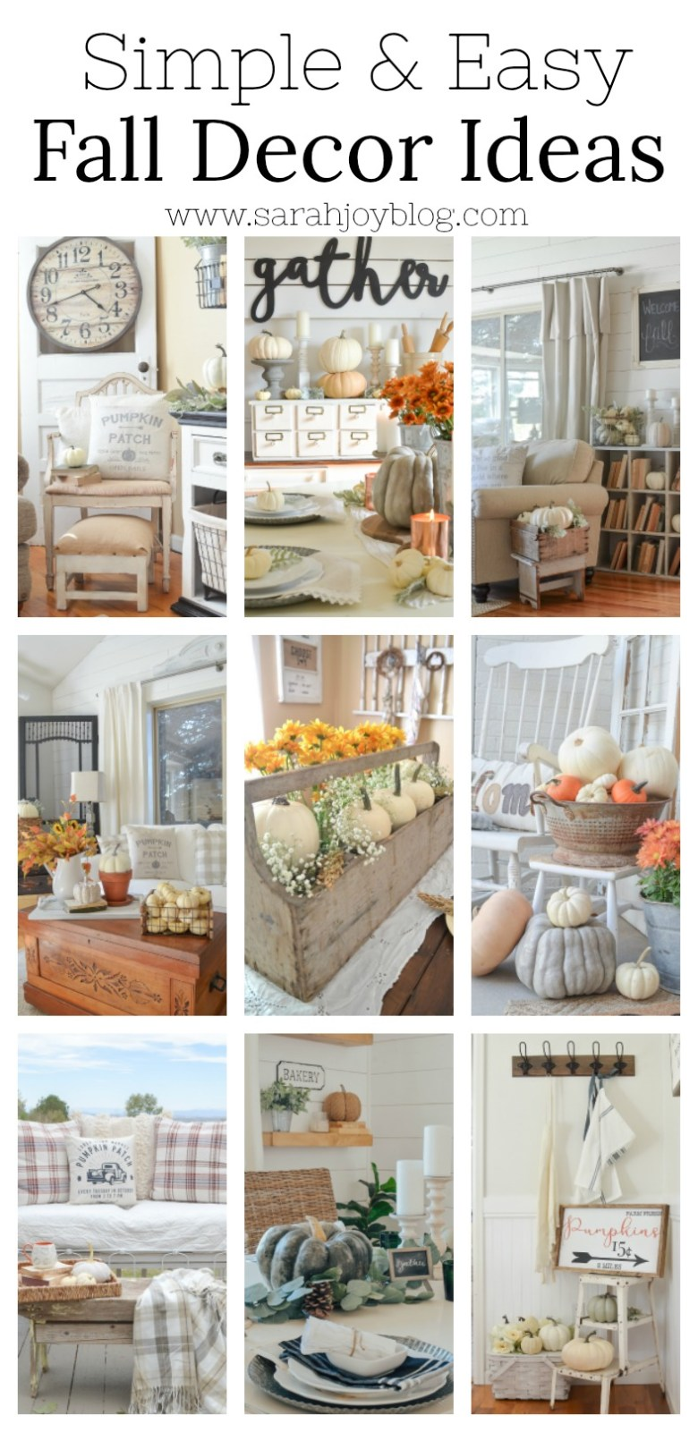 Simple and easy fall decorating ideas. Farmhouse style fall decor inspiration for every room in your home.