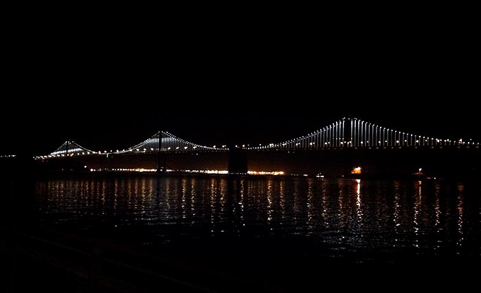 SF-reflections Bay Bridge at night
