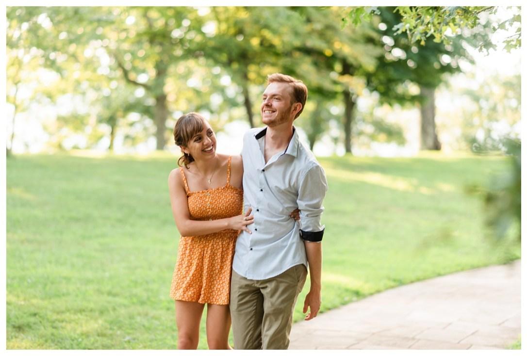 couple walking through point park