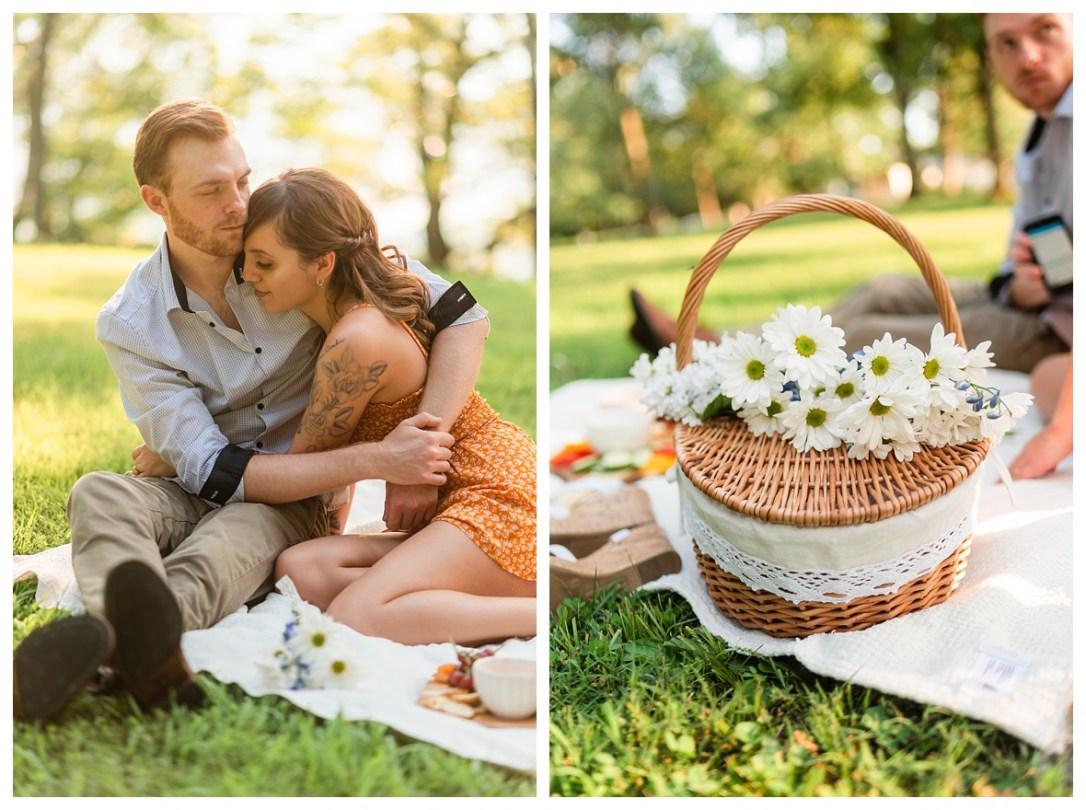 picnic basket engagement photos