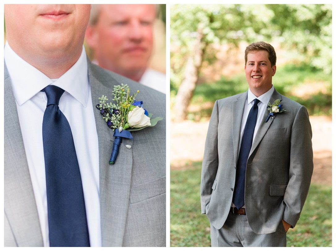 Navy and grey suit groom