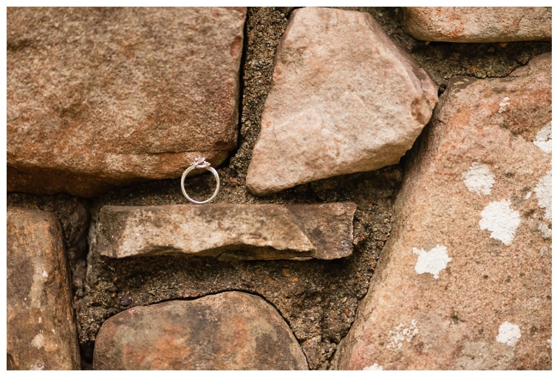 engagement ring in rock