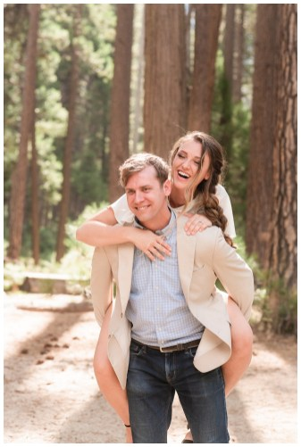 Yosemite Valley Engagement Photos piggy back ride