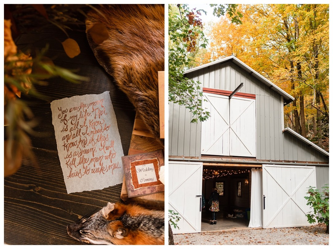 barn wedding in the fall