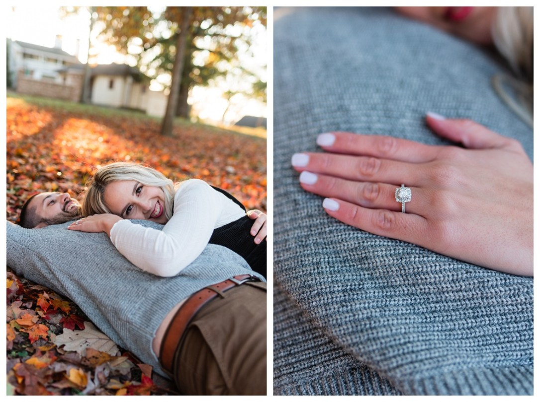 engaged couple cuddles for photos