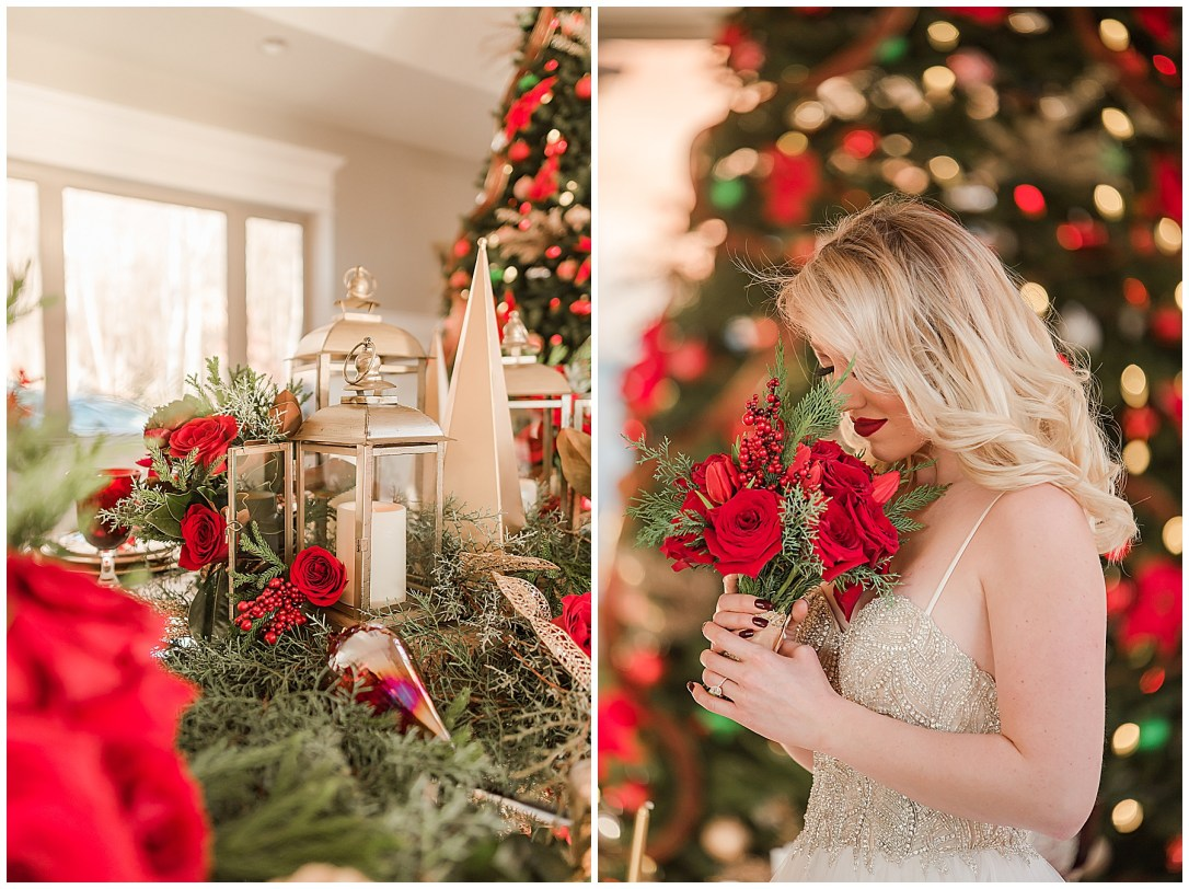Christmas bride at her reception