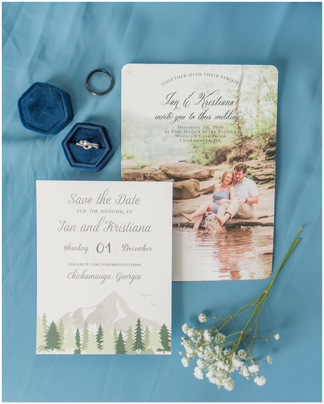 baby blue and white wedding invitation