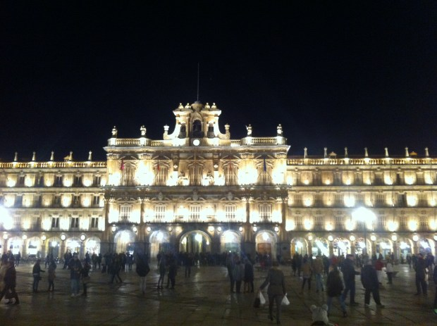 Bustling Plaza Mayor in Salamanca at Night