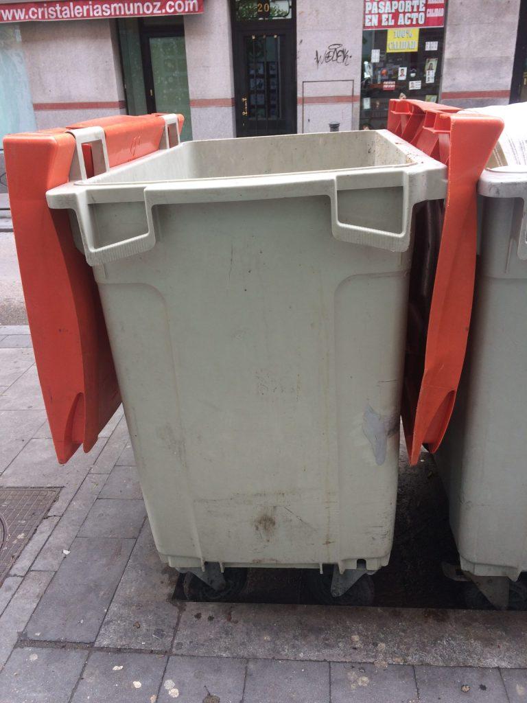 Orange bin for non-organic materials