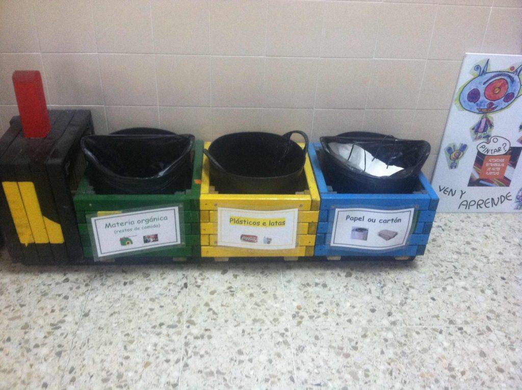 Small recycling bins inside a school in Spain