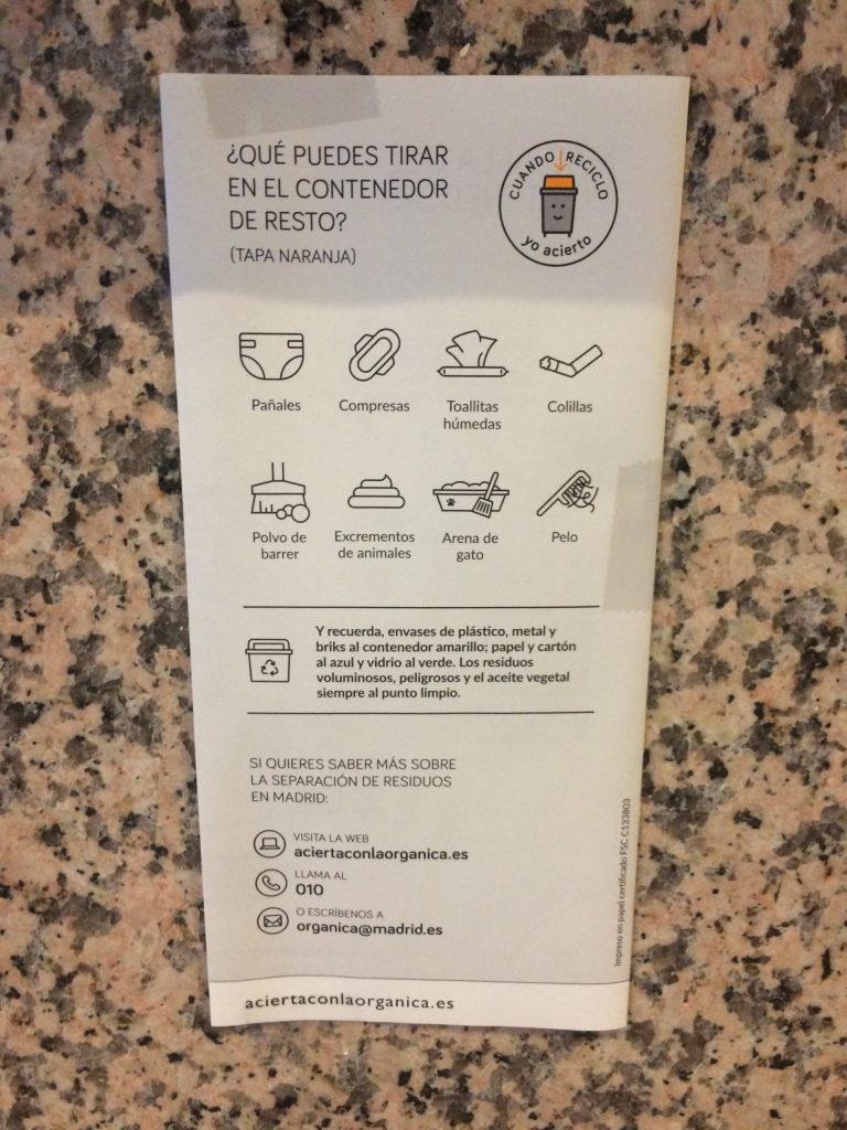List of non-organic materials to go in orange bins