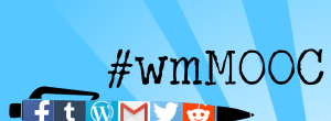 image of a pen with various social media logos on the side, and the #wmMOOC hashtag